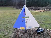 Name: SUE TOO 1.jpg Views: 74 Size: 307.9 KB Description: The tape on the front part of the blue side LE shows where the bamboo skewer reinforcement is along the edge.   There are also reinforcements in the gullies.   Note the battery is on the opposite side from the ESC and receiver.  It seems to help.