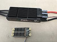 Name: IMG_1073.jpg Views: 58 Size: 1.74 MB Description: Comparison between HSD 150A ESC and the 120A APD ESC. The APD 200A version is only slightly larger than the 120A by a few millimeters.