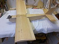 Name: IMG-20160401-00075.jpg Views: 71 Size: 490.6 KB Description: Dick Gibbs designed Mayfly from September 1966 Model Airplane News.  Part of the YOBBO (year of birth) build off.  Still to be trimmed out with some color.  That unmuffled Enya .09 is going on the auction block.  I will reconfigure for brushless...