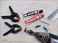 Name: WorkshopPT_01.jpg Views: 113 Size: 139.2 KB Description: Start with some angle stock, drill bits, two aluminium servo arms and steel filled epoxy.