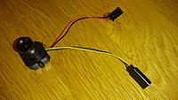 Name: 2014-08-18 18.45.28 (Medium).jpg Views: 26 Size: 251.3 KB Description: Put on some servo connectors for easy installation. Camera gets its 5V from the RX.