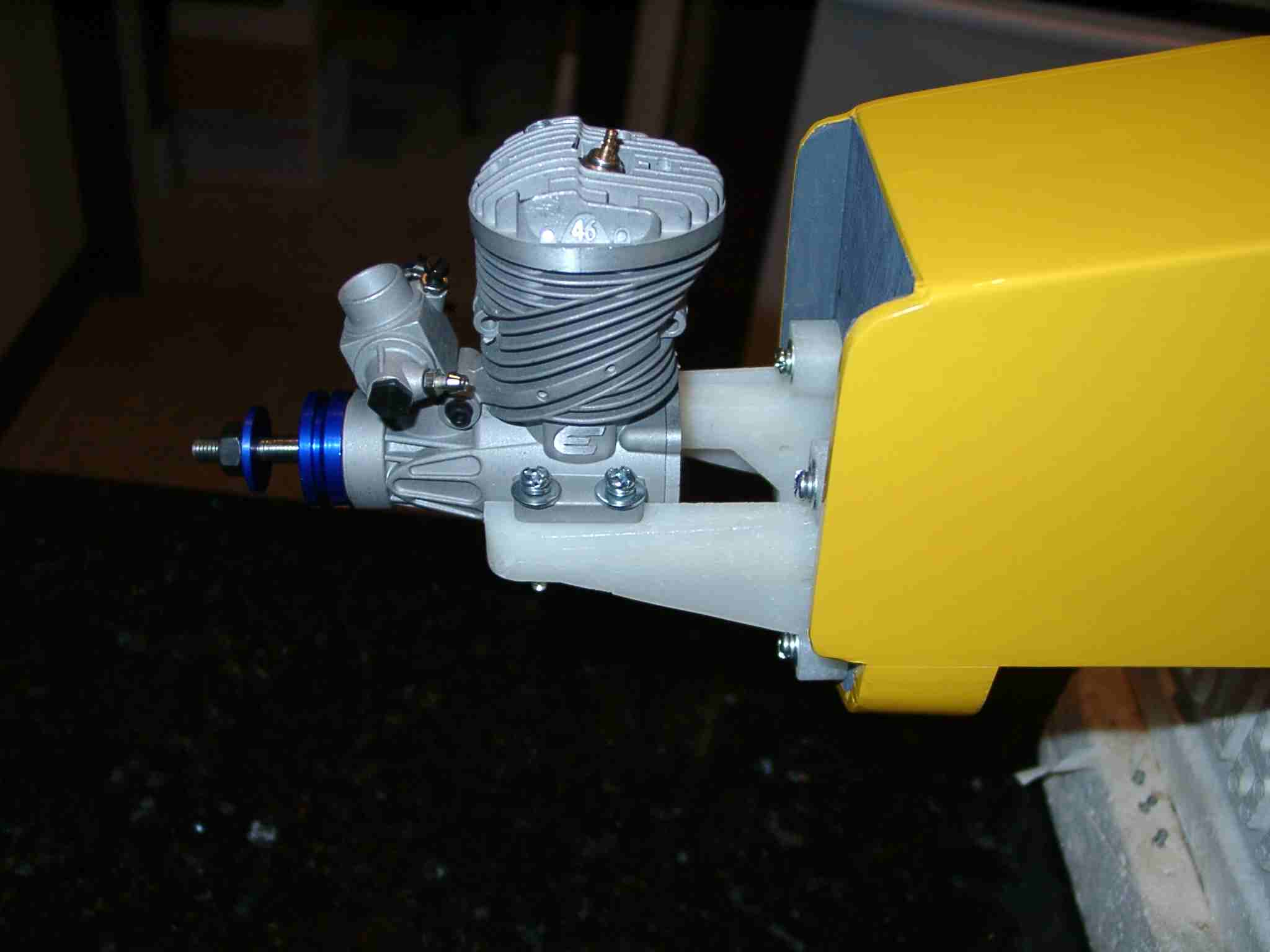 Name: motormount.jpg Views: 434 Size: 78.5 KB Description: The motor is bolted in place at 125mm, so that the cowl will now fit properly.