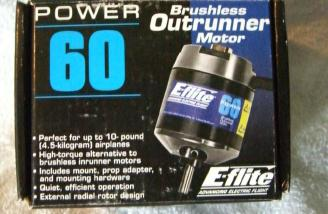 The Eflite Power 60 outrunner brushless motor provides the power.