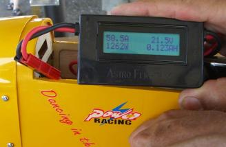 Prior to flight the systems shows 1262 Watts with an APC 16*8E prop. Almost 200 Watts per pound!!!