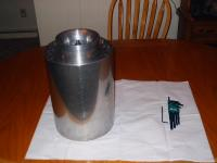 Name: Big turbine 012.jpg Views: 2162 Size: 110.2 KB Description: The canister with front end installed.  Sitting on my kitchen table.  My allen wrenches beside the can just to see the size.