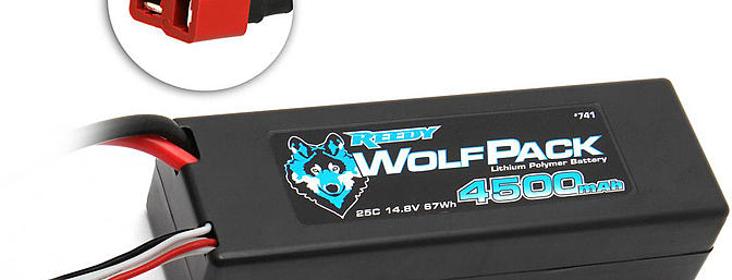 The Reedy WolfPack 4500mAh 25C 4S 14.8V LiPo battery pack with Deans Ultra Plug.