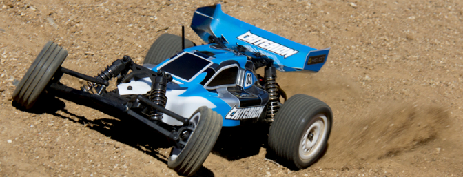 The high speed 12-turn 540 size brushed motor and included 7-cell NiMH 3000mAh battery pack have no trouble getting the tires to throw big roosts of sand.