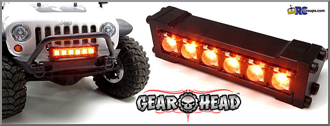 Gear head 110 scale six shooter led light baramber rc groups mimic full size off road vehicles with this amber led light bar from gear head mozeypictures Choice Image