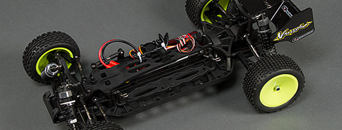 The battery pack brace is adjustable to accommodate different height battery packs.