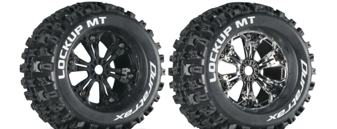 Each of the four tread patterns are available mounted or unmounted in either standard or 1/2-inch offset on either black or chrome wheels as shown here.