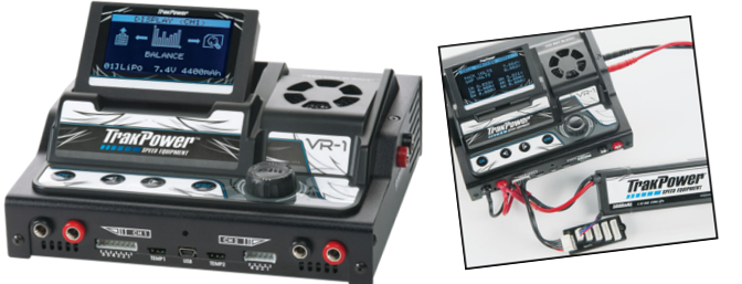 The feature-packed, multi-chemistry, dual-output TrakPower VR-1 Dual Racing Charger.