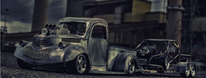 The 1941 Chevy Pickup trailering Byron's custom-built drift truck.