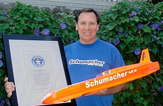 Here is Nic photographed with his previous Guinness World Record of 161.76mph accomplished in October of 2008.