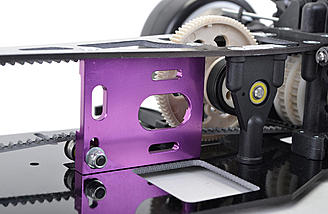 The purple anodized motor mount is CNC-machined for precision.