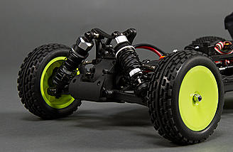 Oil-filled shocks with threaded shock bodies are found at all four corners of the chassis.