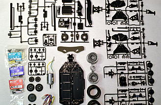 Here is an example of a kit showing all the chassis components. It is the Tamiya TT-02 chassis.
