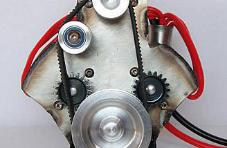 Front view of the Triple Stack shows the pinions for the lower two motors and the main pulley that is spun by the top motor.