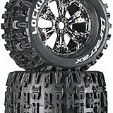 Duratrax Lockup 3.8 Mounted Chrome tires.