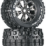 Duratrax Six Pack 3.8 Mounted Chrome tires.