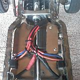 Underside of chassis with wiring from the three speed controls leading to the three motors in the Triple Stack.