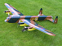 """Name: P4110116.jpg Views: 65 Size: 316.4 KB Description: Priory Models Lancaster, 72"""" span, 4 x MFA Rocket 400 brushed motors with gearboxes. Finished as the 2nd prototype, hence the yelloy undersides used by British forces for training / prototype aircraft to avoid friendly fire if the plane was not recog"""