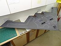 """Name: DSC02167.jpg Views: 54 Size: 97.0 KB Description: Chris Golds B2 stealth, 96"""" span, 4 x 55mm Vasa EDF fans. Finished as """"Spirit of New York"""" as seen in the UK in 2012 at the Royal International Air Tattoo (RIAT) at RAF Fairford."""
