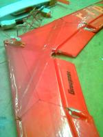 Name: fathom.jpg Views: 171 Size: 45.0 KB Description: Aileron control linkage done the quick way, using a thread pulling against preloaded control surfaces