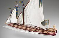 Name: galley Spanish Battle of Lepanto in 1571 b.jpg Views: 31 Size: 104.4 KB Description: model of a Spanish galley from the Battle of Lepanto in 1571.  This has the usual low bow for the calmer waters of the Mediterranean.