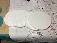 4x 176mm dia disks cut from 10mm polystyrene sheet