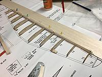 After notching the trailing edge, I propped up the trailing edge of the Horizontal Stabiliser using 3mm balsa and then glued in both of each of T1 to T6. I then checked leading edge alignment and propped the leading edge ribs where required.