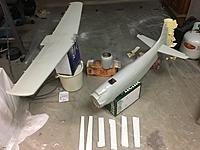 Name: 2F8CA4EF-931D-413E-8DE7-98B8D100C612.jpeg Views: 5 Size: 1.85 MB Description: Gray spraying complete. I will need one more coat of white under wing plus all control surfaces. Then black to go on upper cooler plus walkways