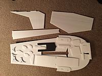 Name: Body Parts.jpg Views: 104 Size: 701.8 KB Description: Body parts, sponsons, and tail feathers cut out and awaiting assembly.