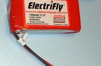 The Great Planes Electrifly 1500 3S lithium polymer battery used in this review.