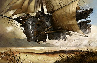 Steampunk ships usually fly, which is a bit much for me to swallow...