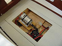 Name: DSC07957.JPG Views: 70 Size: 2.96 MB Description: In this photo the engine box has been removed to gain access to the motor, universal, electronic speed control, main power battery plugs, and the radio BEC (on/off) switch.