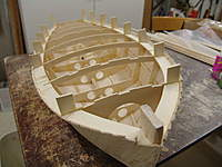 Name: DSC04463.jpg Views: 352 Size: 66.2 KB Description: The hull has been cut lose from the building board and turned right side up.