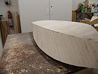 Name: DSC04468.jpg Views: 297 Size: 67.7 KB Description: Block sanding the sides of the hull you can feel the gentle curves of the flaired sides.