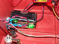 Name: DSC04626.jpg Views: 269 Size: 120.4 KB Description: The reciver battery pack is mounted with adhesive back velcro on the bottom of the hull against the transom.