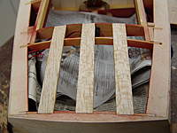 """Name: DSC04629.jpg Views: 290 Size: 72.5 KB Description: The rear deck battens are glued in place with medium CA glue.  The 1/8"""" x 1/4"""" basswood hatch frame battens are also glue in place.  Refer to DWG #3."""