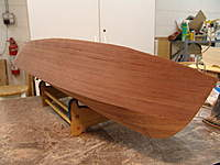 Name: DSC04634.jpg Views: 423 Size: 72.0 KB Description: With the transom trimmed and block sanded true to the hull sides, bottom and sub deck, we block sand the bottom and side planking with various grades of sand papere down to 180 grit.
