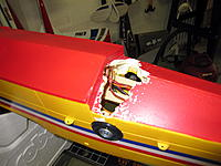 Name: IMG_3811.jpg Views: 282 Size: 164.2 KB Description: OK here's when I nearly lost the fuselage. I used a glue called ''Goop'' for the tires and it start attacking the foam like a skin eating bacteria!!! Had to put balsa and epoxy to fix it.
