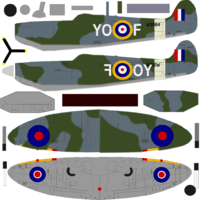 Changing directions here and am going to use the Floody Spitfire as my skin rather than Rasterized's skin. Rasterize's is more detailed, but the Floody gives me more flexibility as I created it initially for Phoenix,