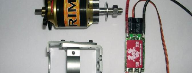 Rimfire motor, Phoenix 80 controller, and Great Planes motor mount. The mount cross section is not needed with an outrunner motor.