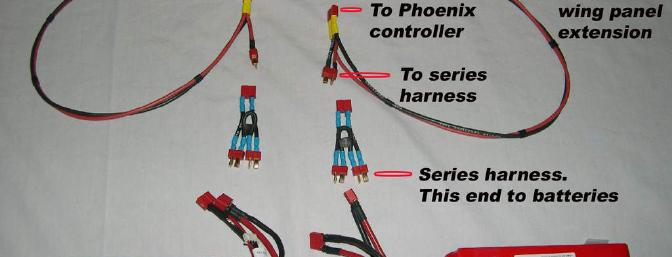 Wiring harness for the power system. Wire provided by Castle Creations.