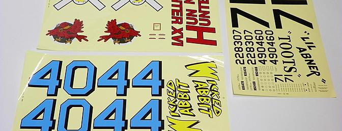 Self-stick decals are provide for 3 different schemes.