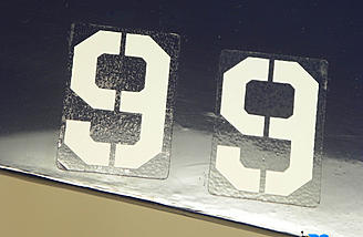 The difference between the floating installation of decals and direct placement. Floated decal on the right with less bubbling in the clear sections.