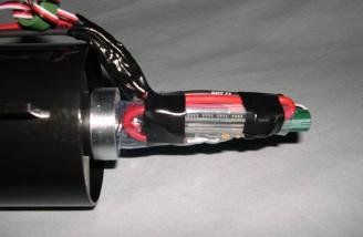 Controller mounted to the back of the fan/motor assembly (side view)