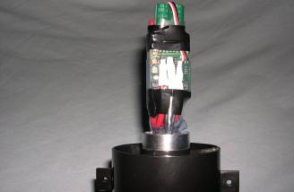 Controller mounted to the back of the fan/motor assembly (bottom view)