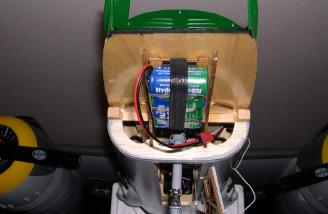 The receiver battery is mounted to the bottom of the cabin platform.