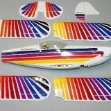 Fuselage, wings with ailerons, horizontal stabilizer and elevator, vertical fin and rudder.